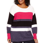 Liz Claiborne® Long-Sleeve Striped Sweater - Plus