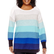 Liz Claiborne® Ombré Striped Tunic Sweater - Plus