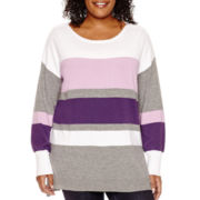 Liz Claiborne® Long-Sleeve Striped Sweater - Plus