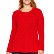 Liz Claiborne® Long-Sleeve Shaker Stitch Sweater - Plus