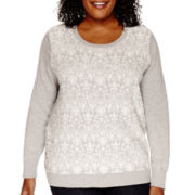 Liz Claiborne® Long-Sleeve Damask Crewneck Sweater - Plus