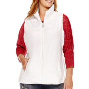 Liz Claiborne® Quilted Side Panel Puffer Vest - Plus