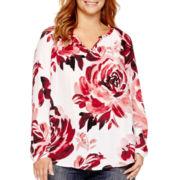 Liz Claiborne® 3/4-Sleeve V-Neck Popover Top - Plus