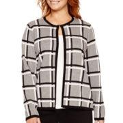 Liz Claiborne® Metallic Double-Knit Sweater Jacket - Plus