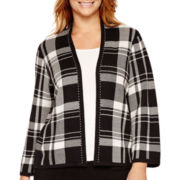 Liz Claiborne® Plaid Double-Knit Sweater Jacket - Plus