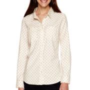 St. John's Bay® Long-Sleeve Polka Dot Flannel Shirt - Tall