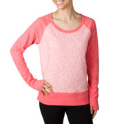 Jockey® Long-Sleeve Space-Dyed Colorblock Sweatshirt