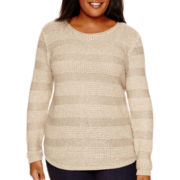 St. John's Bay® Long-Sleeve Sequin Sweater - Plus
