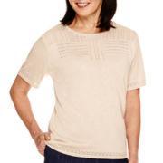 Alfred Dunner® El Dorado Short-Sleeve Solid Textured Sweater Shell