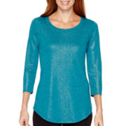 Liz Claiborne® Weekend 3/4-Sleeve Scoopneck T-Shirt