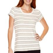 Liz Claiborne® Weekend Short-Sleeve Textured T-Shirt