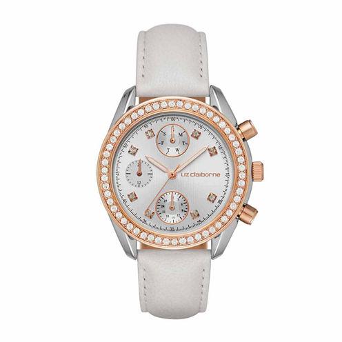 Liz Claiborne Womens White Strap Watch-Lc1324