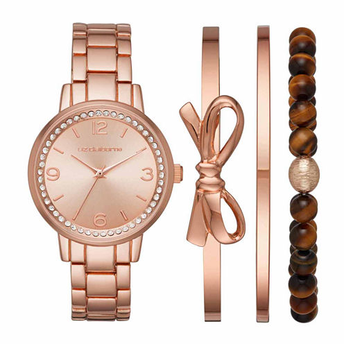 Liz Claiborne Womens Rose Goldtone 4-pc. Watch Boxed Set-Lc9041