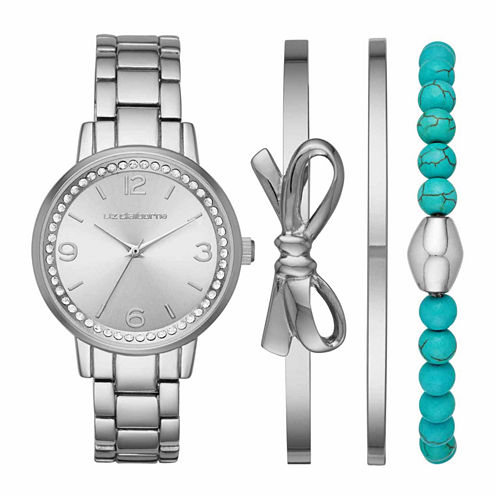 Liz Claiborne Womens Silver Tone Watch Boxed Set-Lc9042