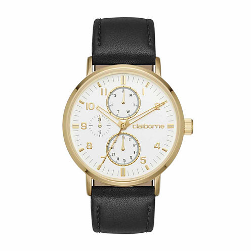 Claiborne Mens Black Strap Watch-Clm1203