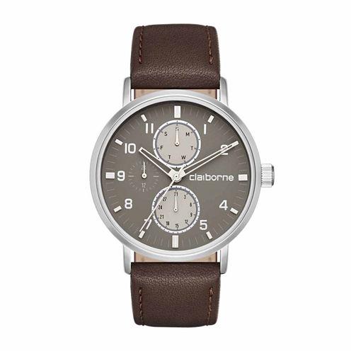 Claiborne Mens Brown Strap Watch-Clm1204