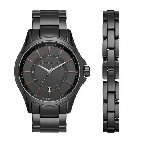 Claiborne Mens Black Watch Boxed Set-Clm9007