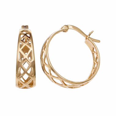 jcpenney.com | Gold Reflection 18K Gold Over Brass Hoop Earrings