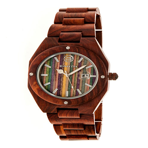 Earth Wood Unisex Red Strap Watch-Ethew4003