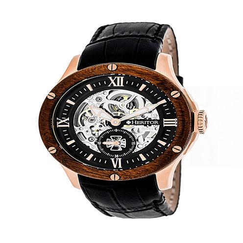 Heritor Mens Black Strap Watch-Herhr3906
