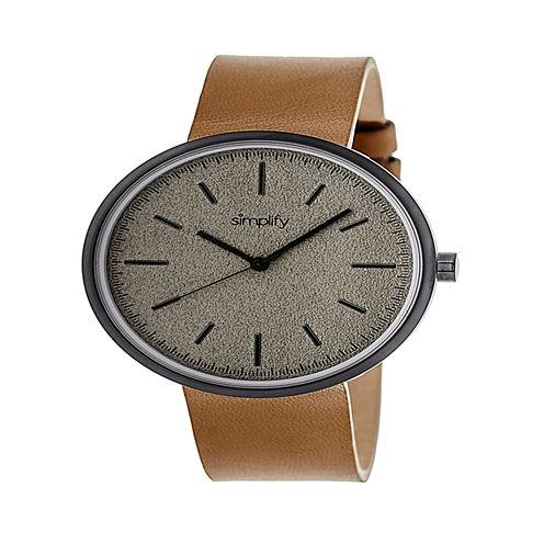 Simplify Unisex Brown Strap Watch-Sim3007
