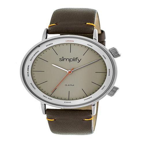 Simplify Unisex Brown Strap Watch-Sim3304