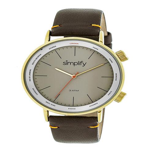 Simplify Unisex Brown Strap Watch-Sim3305