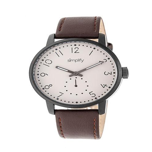 Simplify Unisex Brown Strap Watch-Sim3405