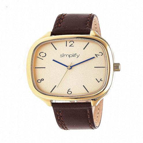 Simplify Unisex Brown Strap Watch-Sim3508