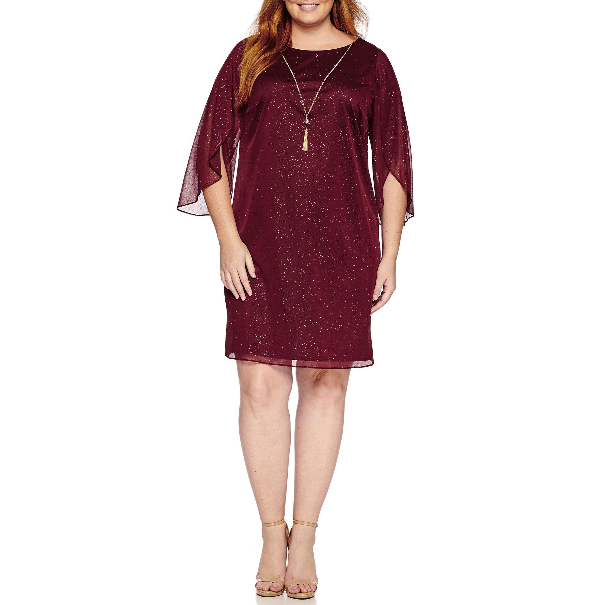Msk Elbow Sleeve Sheath Dress-Plus