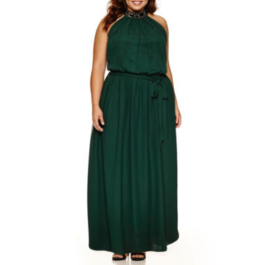 jcpenney.com | Bisou Bisou Sleeveless Embellished Belted Maxi Dress-Plus