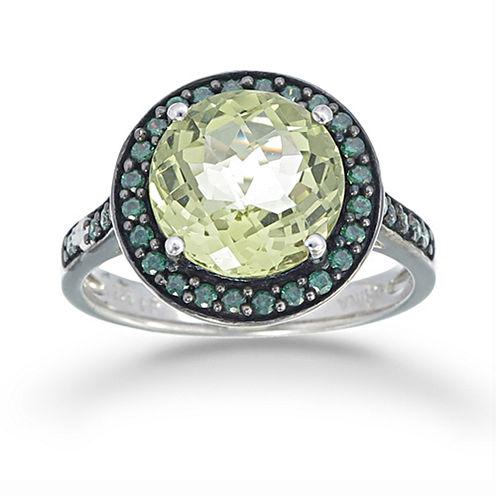 Womens Yellow Quartz Sterling Silver Halo Ring
