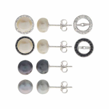 jcpenney.com | 3-pc. White Pearl Sterling Silver Earring Sets