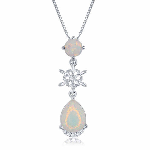 "Enchanted by Disney Lab Created Opal & Diamond Accent ""Frozen"" Pendant Necklace In Sterling Silver"