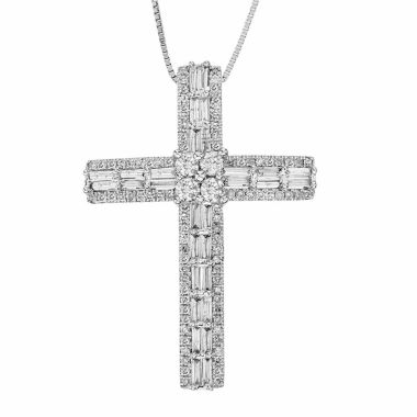 jcpenney.com | 3/4 CT. T.W. Diamond 10K White Gold Cross Pendant Necklace