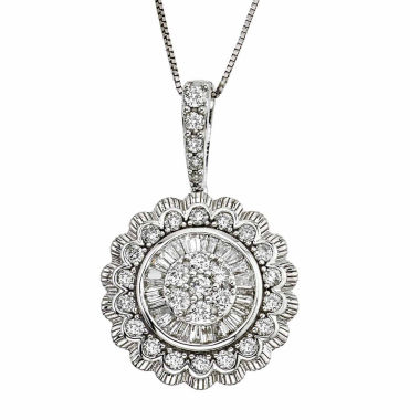 jcpenney.com | Diamond Blossom Womens 1 CT. T.W. White Diamond 10K Gold Pendant Necklace