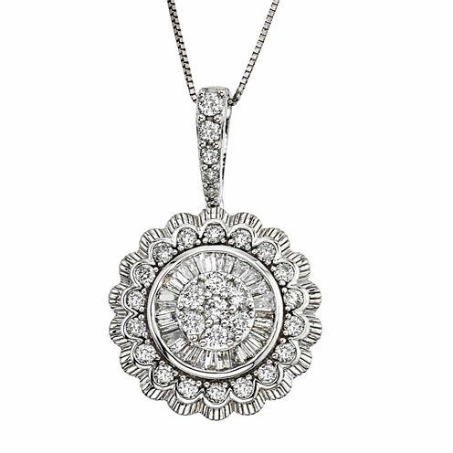 Diamond Blossom Womens 1 CT. T.W. White Diamond 10K Gold Pendant Necklace