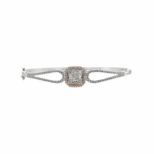 1 1/4 CT. T.W. Diamond 14K Two-Tone Gold Bangle Bracelet