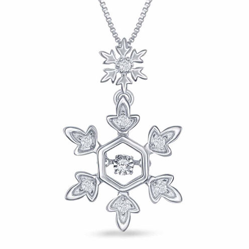 "Enchanted by Disney 1/10 C.T. T.W. Diamond Sterling Silver ""Frozen"" Snowflake Pendant Necklace"