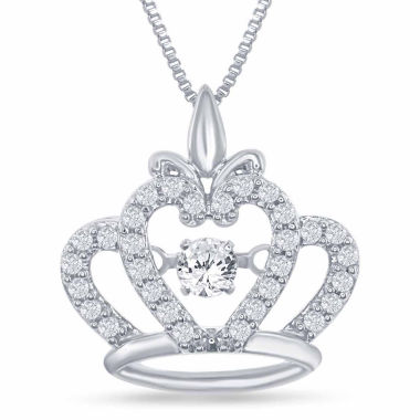 "jcpenney.com | Enchanted by Disney 1/4 C.T. T.W. Sterling Silver ""Disney Princess"" Crown Pendant Necklace"