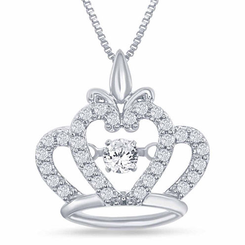 "Enchanted by Disney 1/4 C.T. T.W. Sterling Silver ""Disney Princess"" Crown Pendant Necklace"