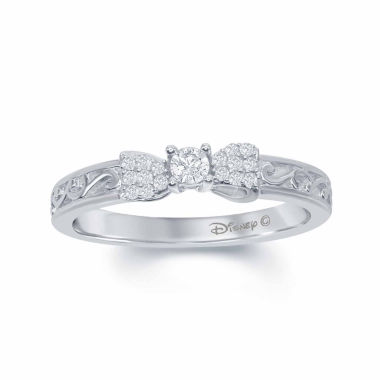 "jcpenney.com | Enchanted by Disney 1/6 C.T. T.W. Diamond 10K White Gold ""Snow White"" Bow Ring"