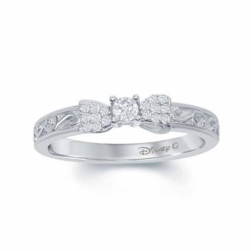 "Enchanted by Disney 1/6 C.T. T.W. Diamond 10K White Gold ""Snow White"" Bow Ring"