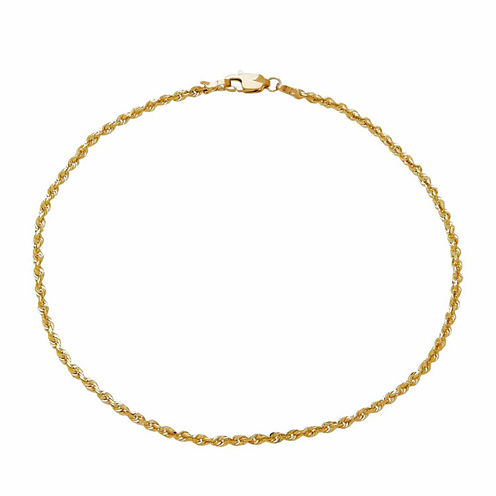 14K Yellow Gold 2.5mm Rope Chain Bracelet