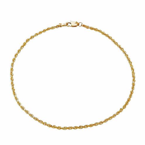 Unisex 9 Inch 10K Gold Chain Bracelet