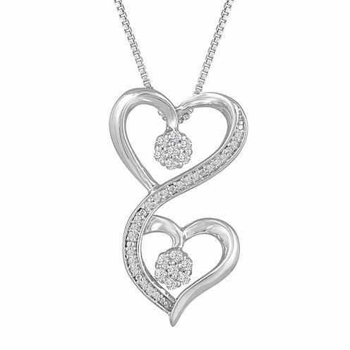 Diamond Blossom Womens 1/10 CT. T.W. White Diamond Sterling Silver Pendant Necklace