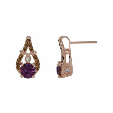 jcpenney.com | Round Purple Crystal Sterling Silver Gold Over Silver Stud Earrings