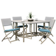 Corliving 5-pc. Taupe And Teal Stowable Folding Patio Dining Set