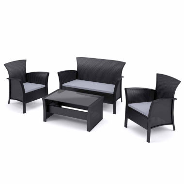jcpenney.com | Corliving Cascade 4-pc. Patio Set In Black Rope Weave