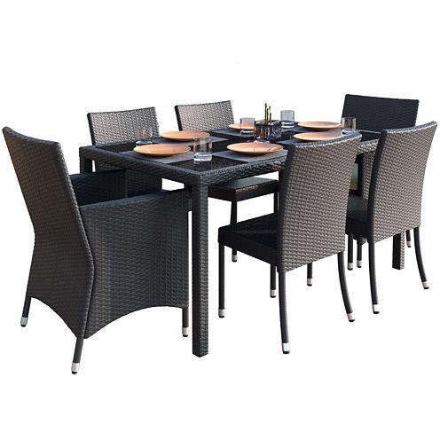 Sonax Park Terrace 7-pc. Charcoal Black Weave Patiodining Set